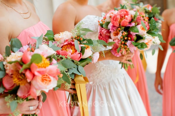 Enchanted Florist Gold And Coral Wedding Decor