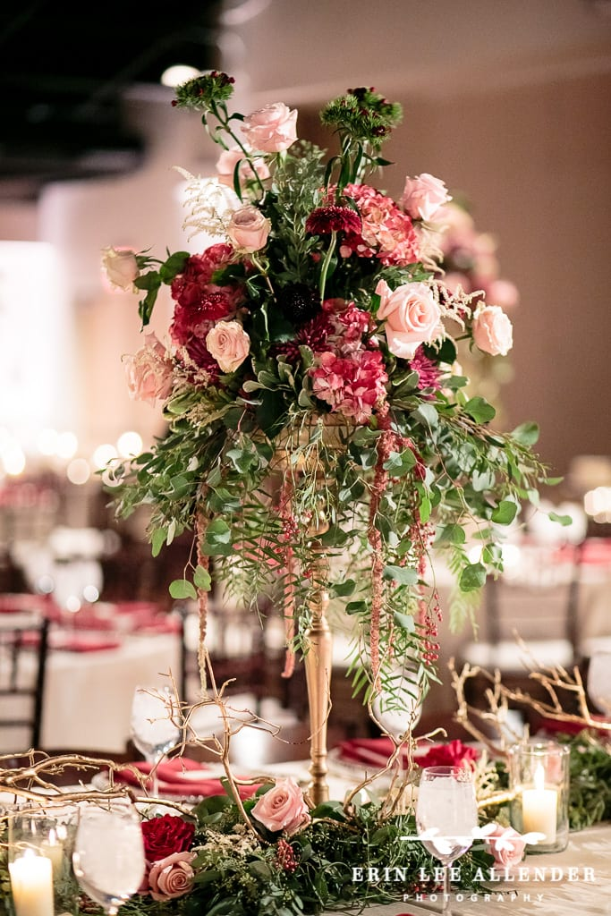 wedding flowers nashville tn enchanted florist crimson pink amp gold winter wedding 9614