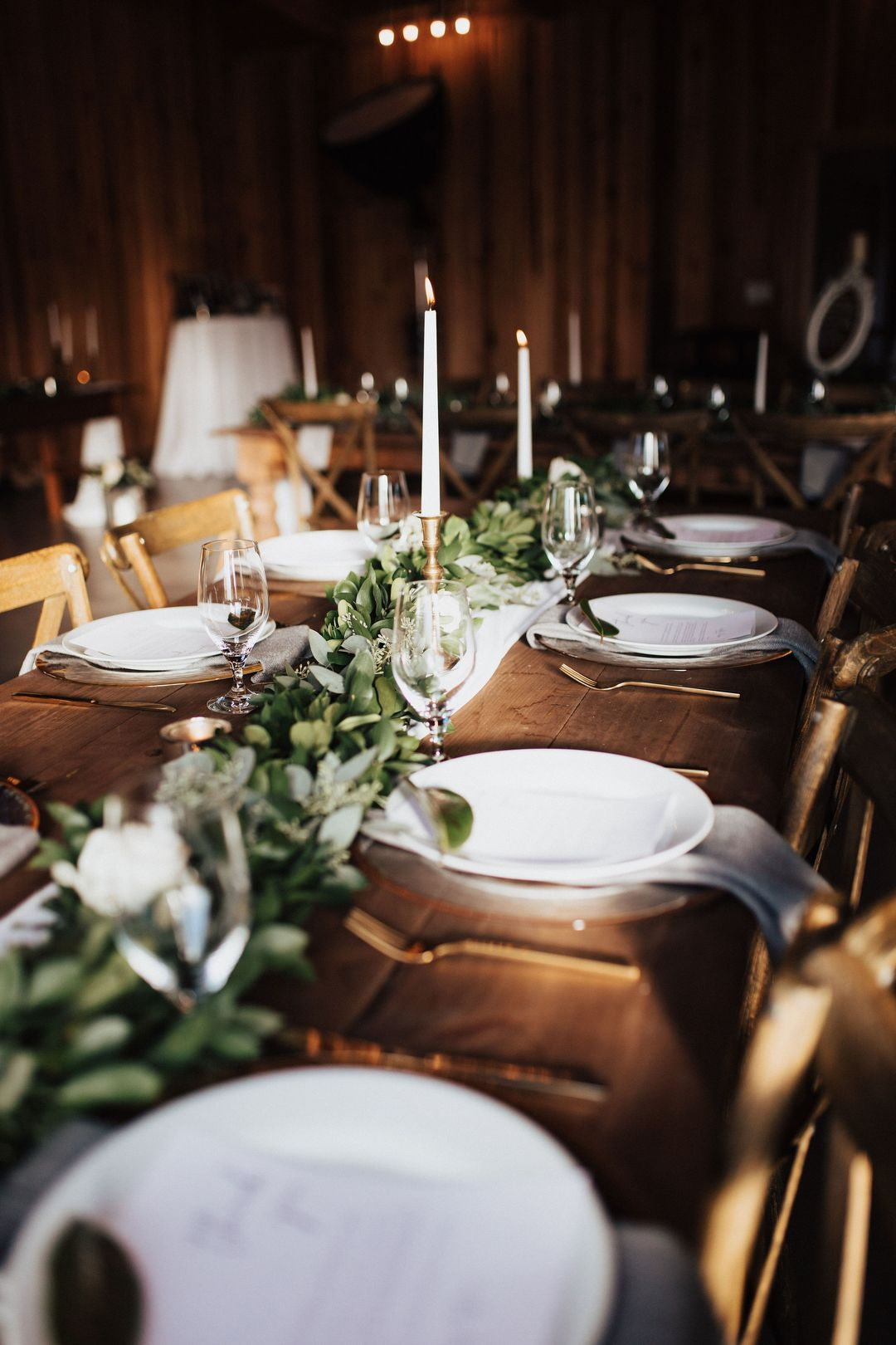 white and green wedding tablescape florals