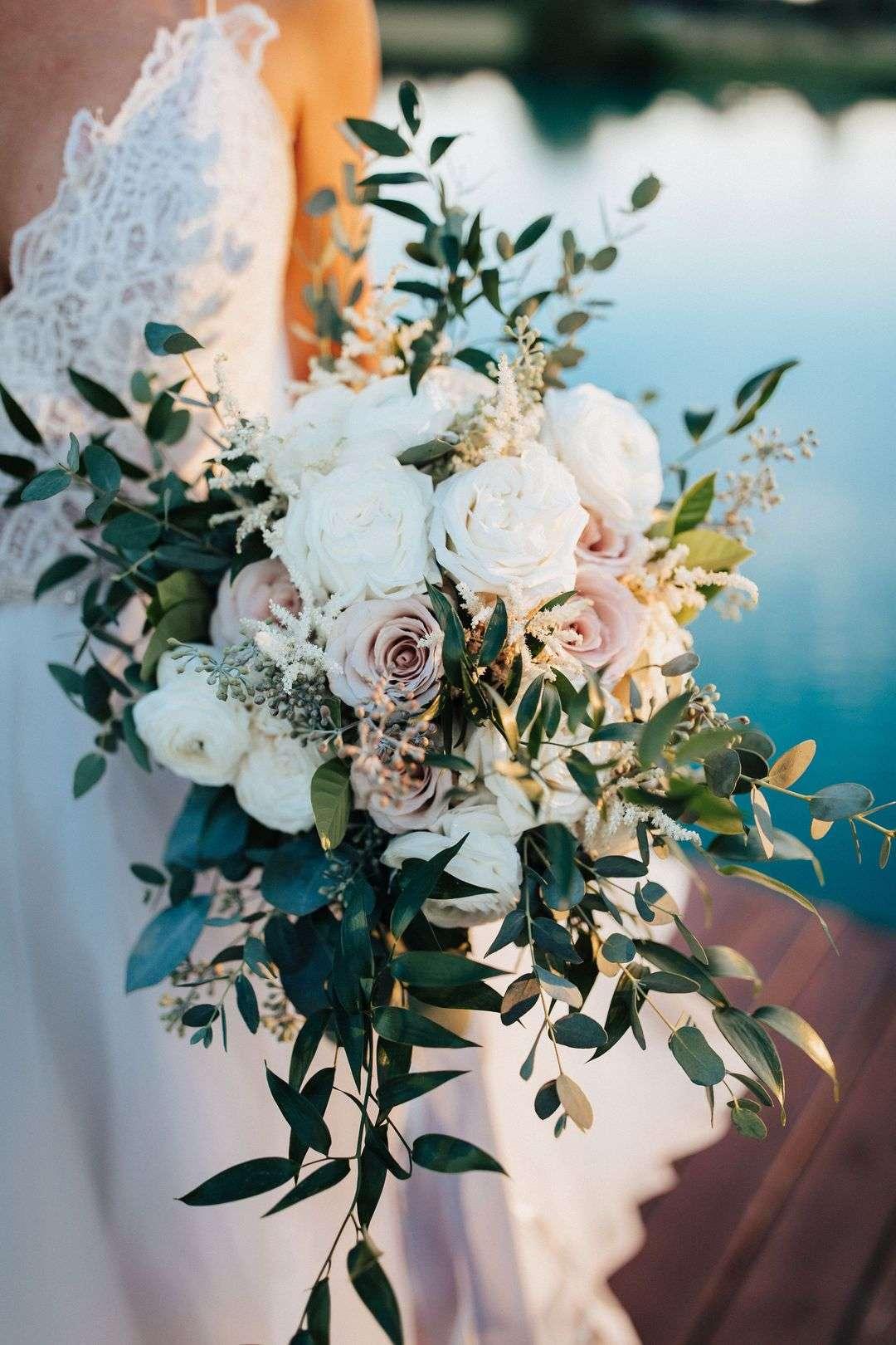 lush white and blush bridal cascading bouquet