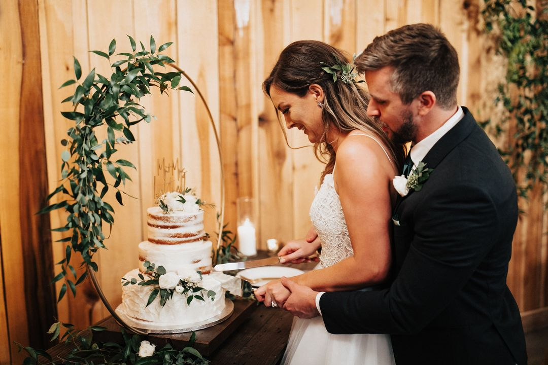 bride and groom reception cake cutting ceremony
