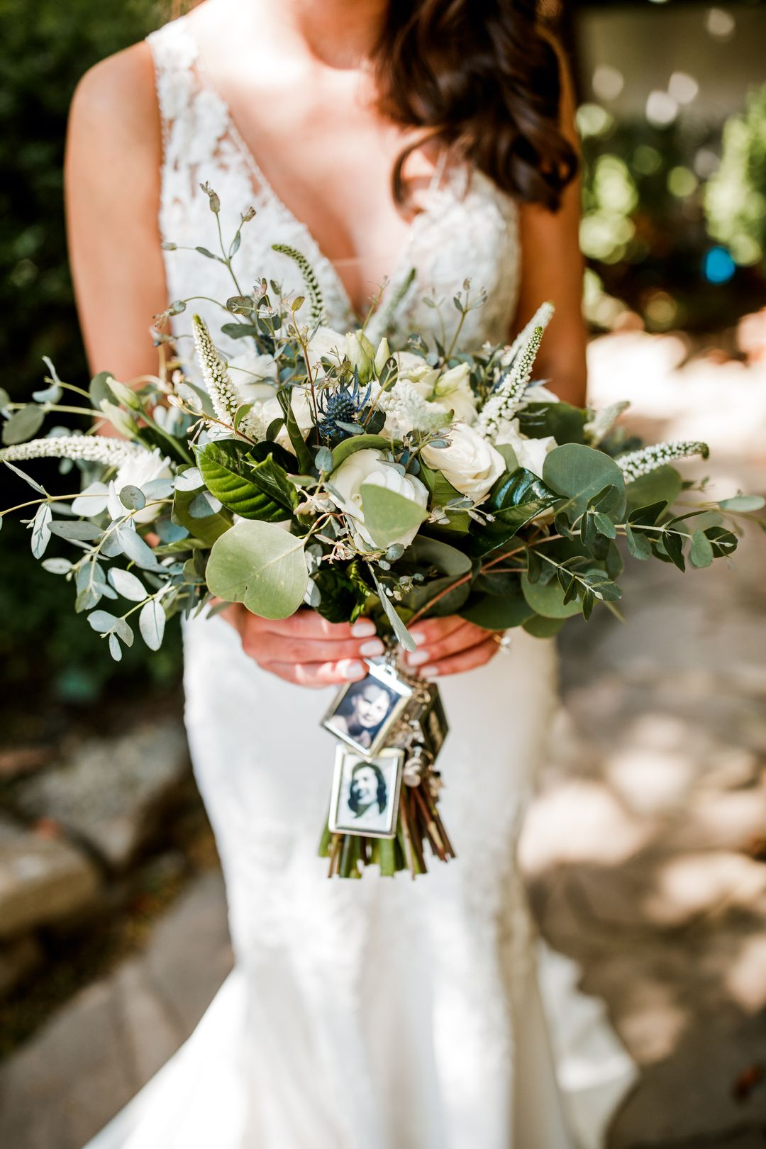 white and sage and blue bridal bouquet