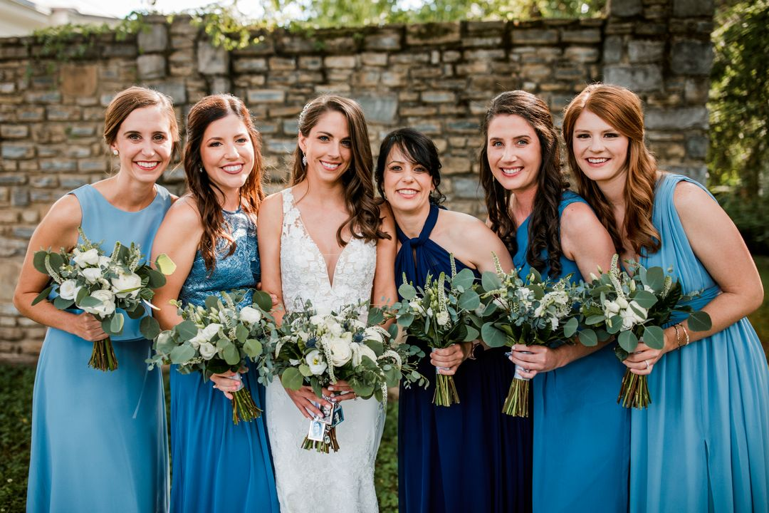 blue mismatched bridesmaid dresses, white and blue wedding in Nashville