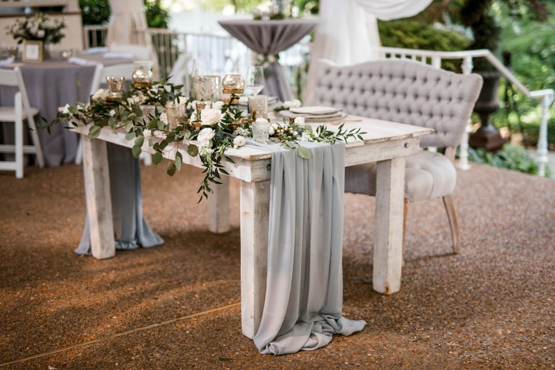 grey wedding sweetheart table
