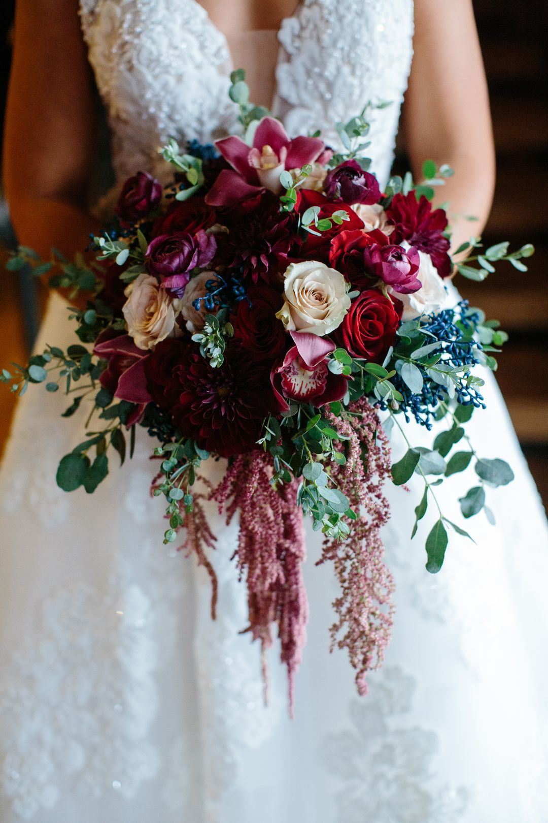bold burgundy and blue wedding bridal bouquet