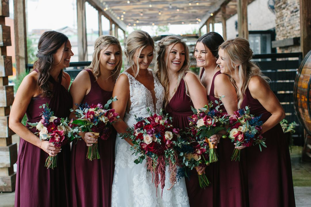 bold burgundy bridesmaid party