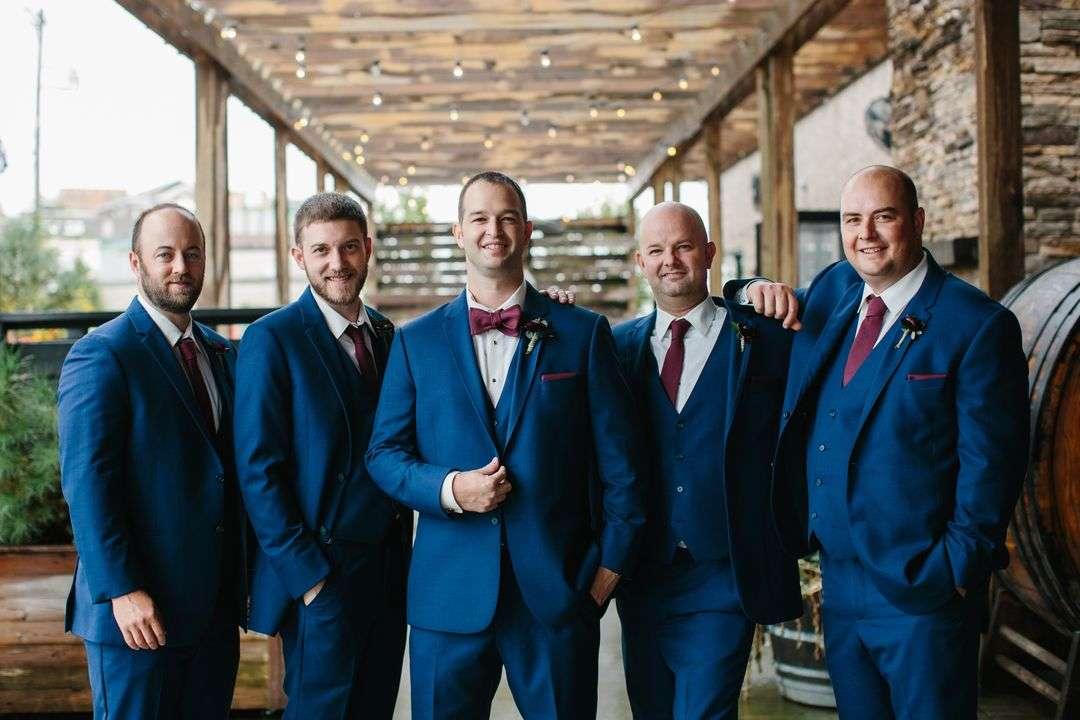 deep navy groomsmen party