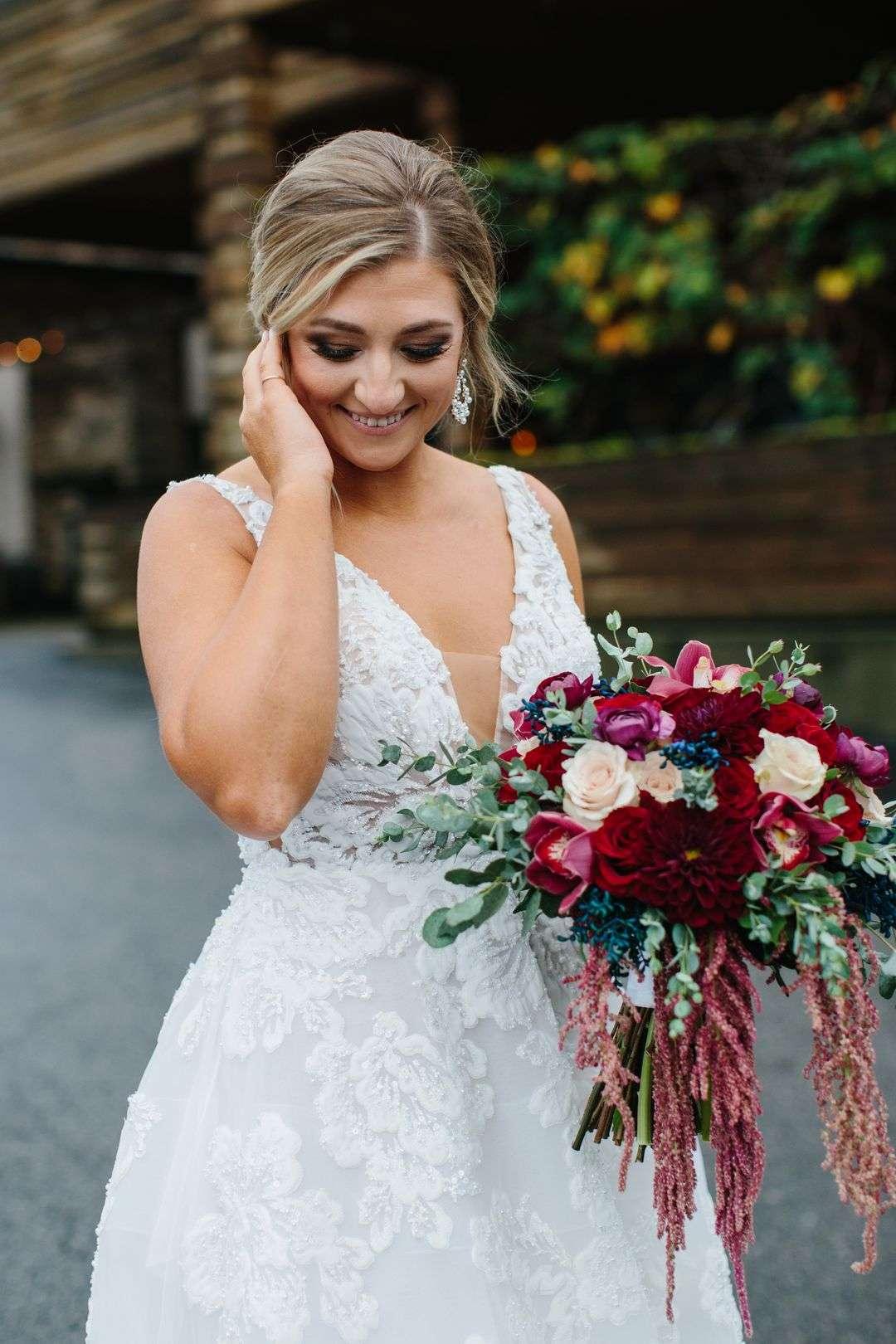 a-line wedding dress bridal portrait with bridal bouquet