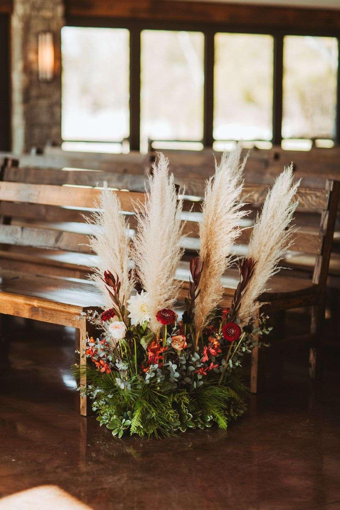 pampas grass wedding ceremony aisle decor
