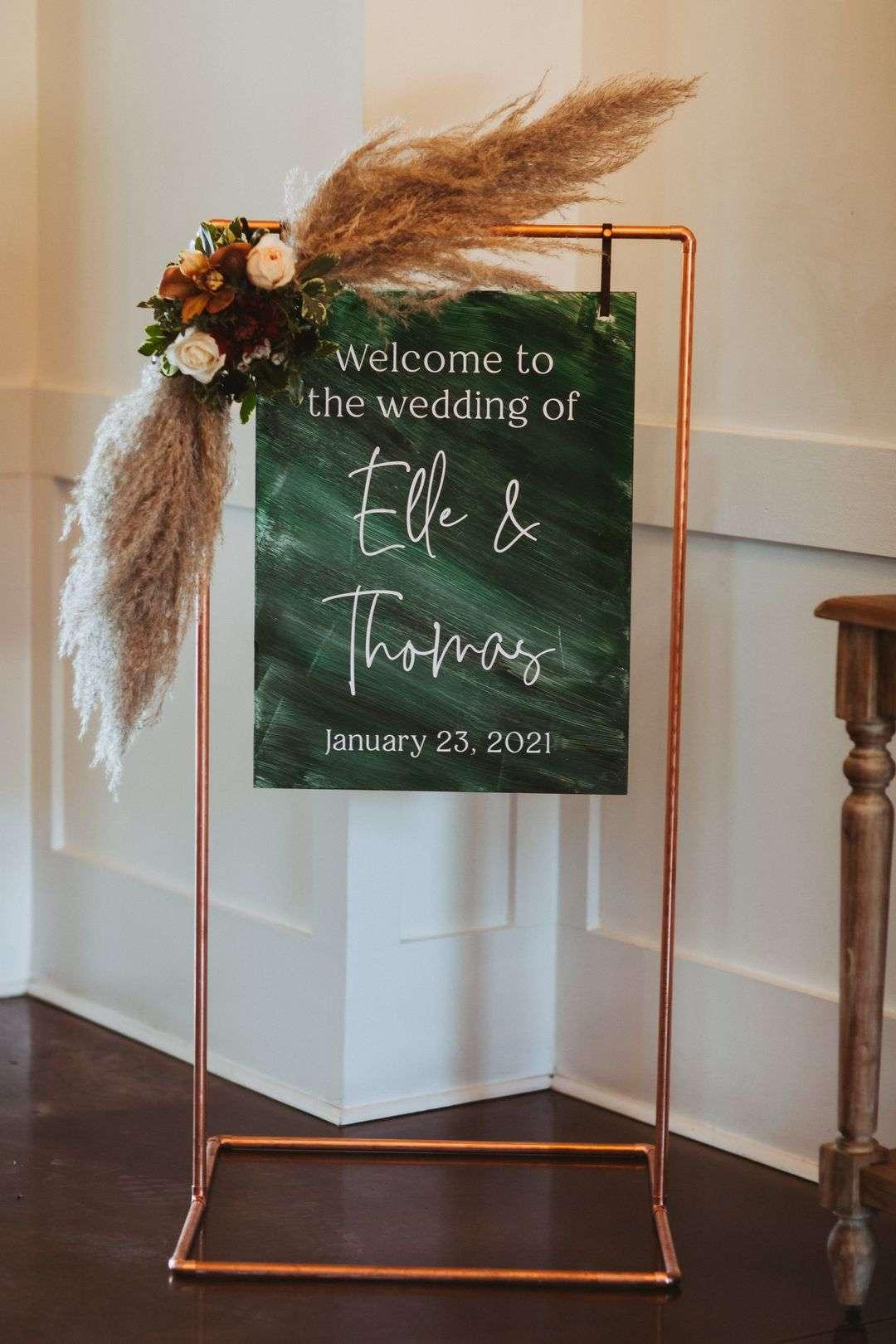 emerald wedding reception signage