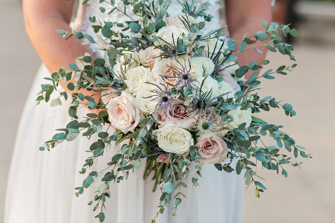 blush and pink oversized bridal bouquet