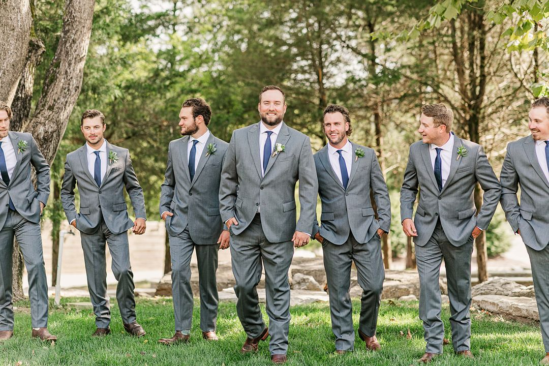 gray and navy groomsmen, greenery boutonnierres