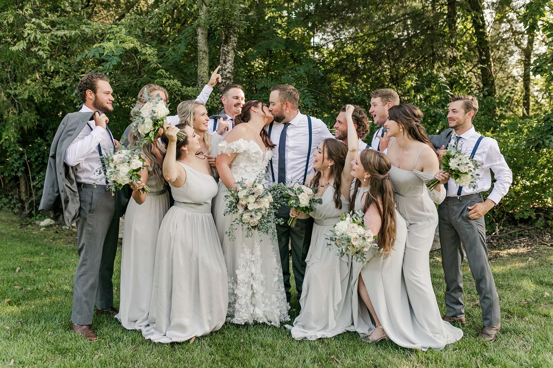 neutral grey wedding party
