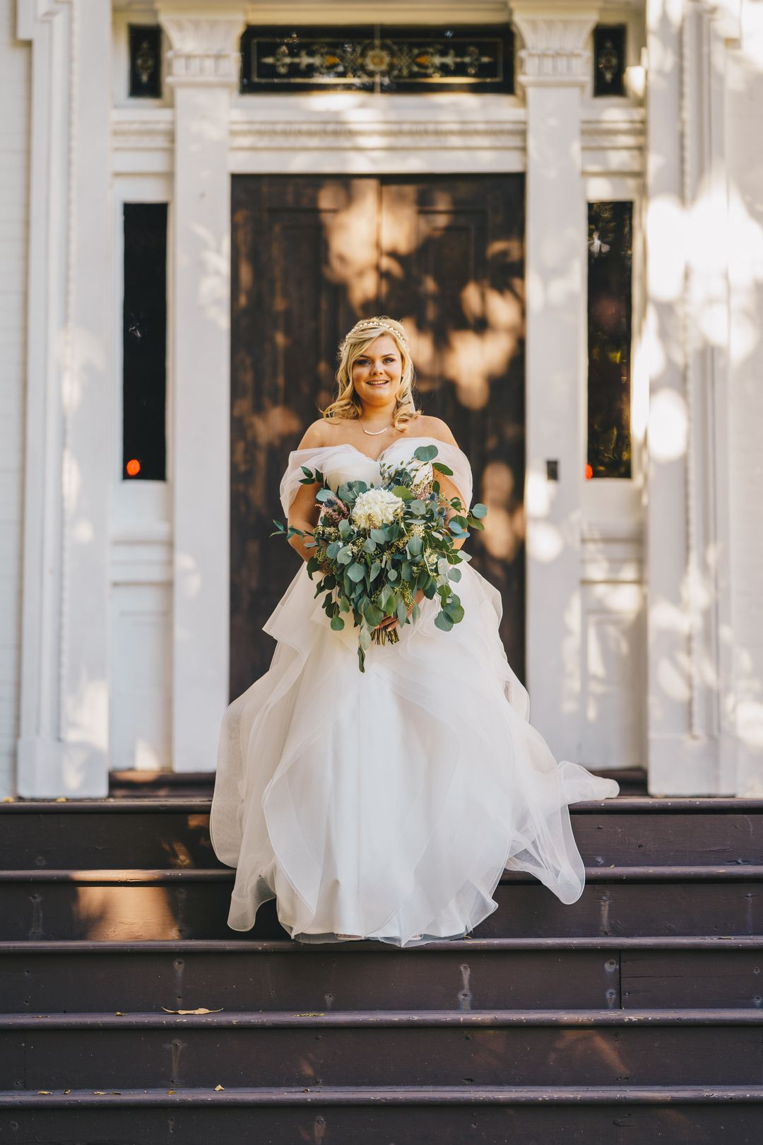 romantic a-line wedding dress, green and white bridal bouquet