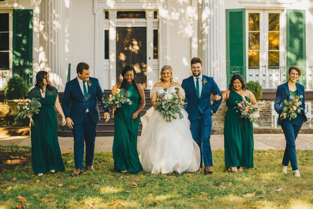 green and blue wedding party at riverwood mansion