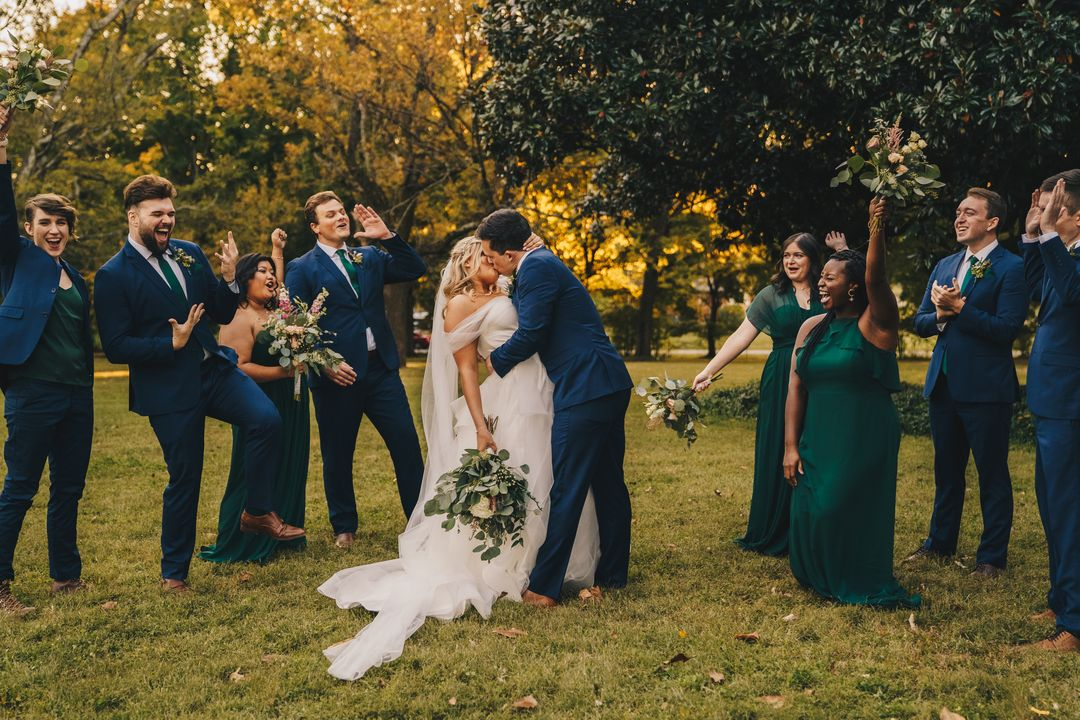 green and blue wedding party, outdoor wedding