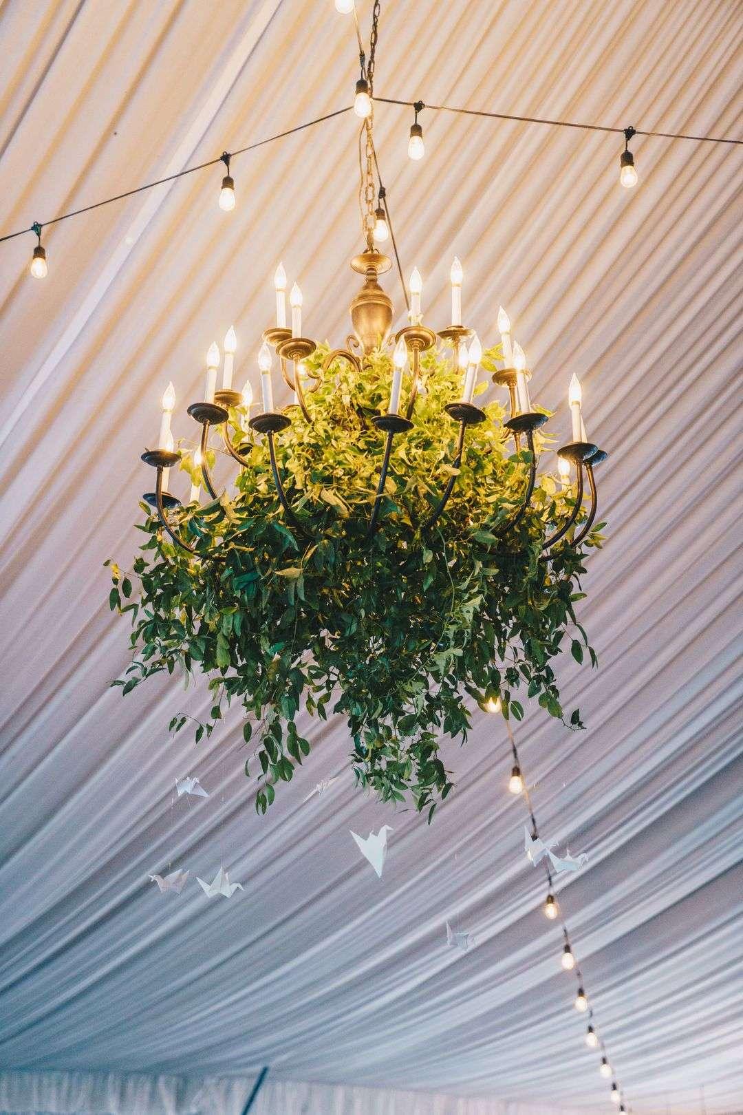 wedding chandelier with greenery