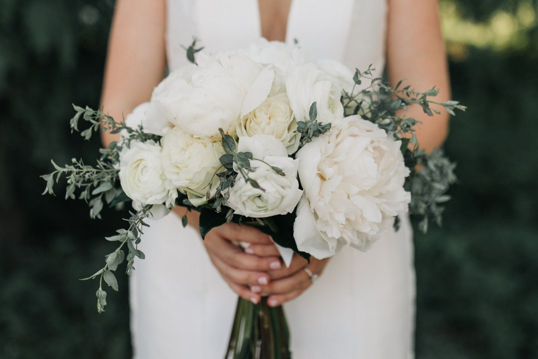 romantic all white wedding bouquet