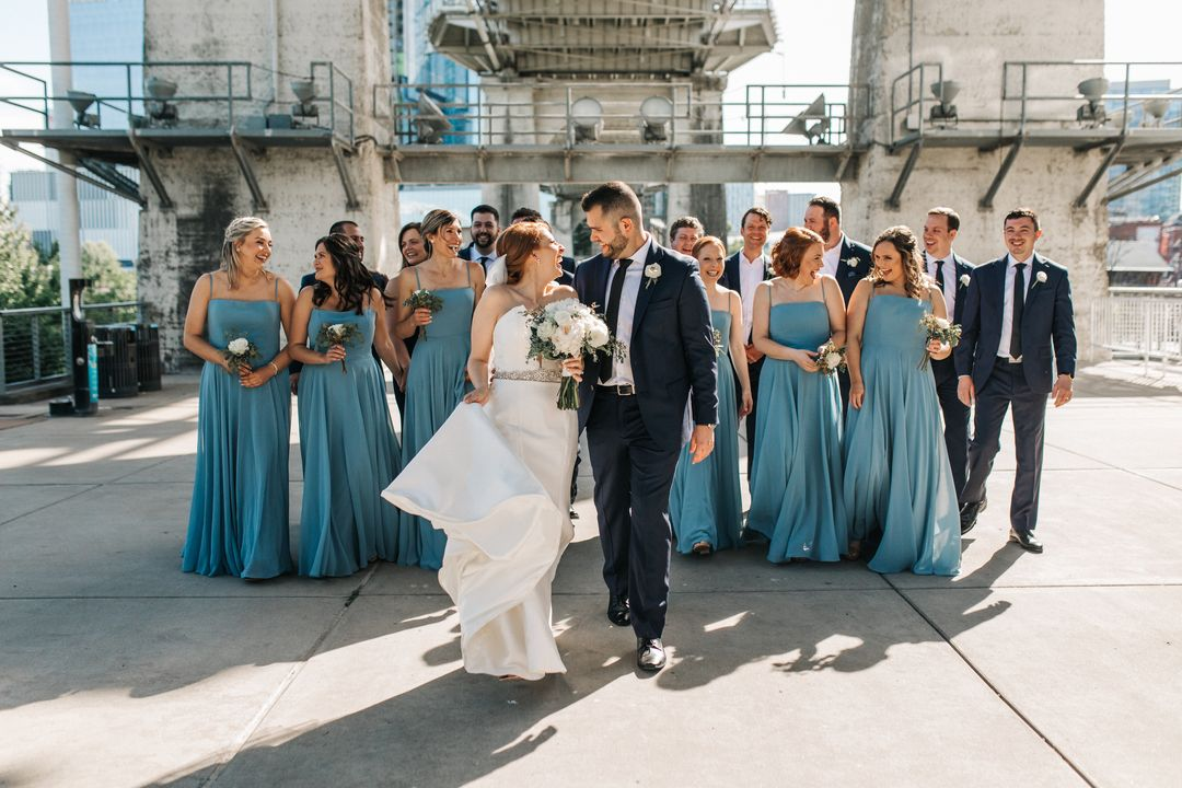 wedding party at the bridge building