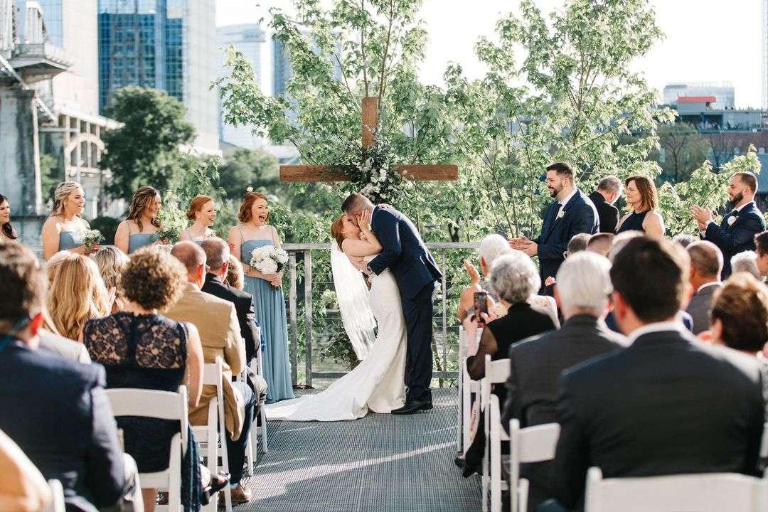 bride and groom wedding ceremony flowers