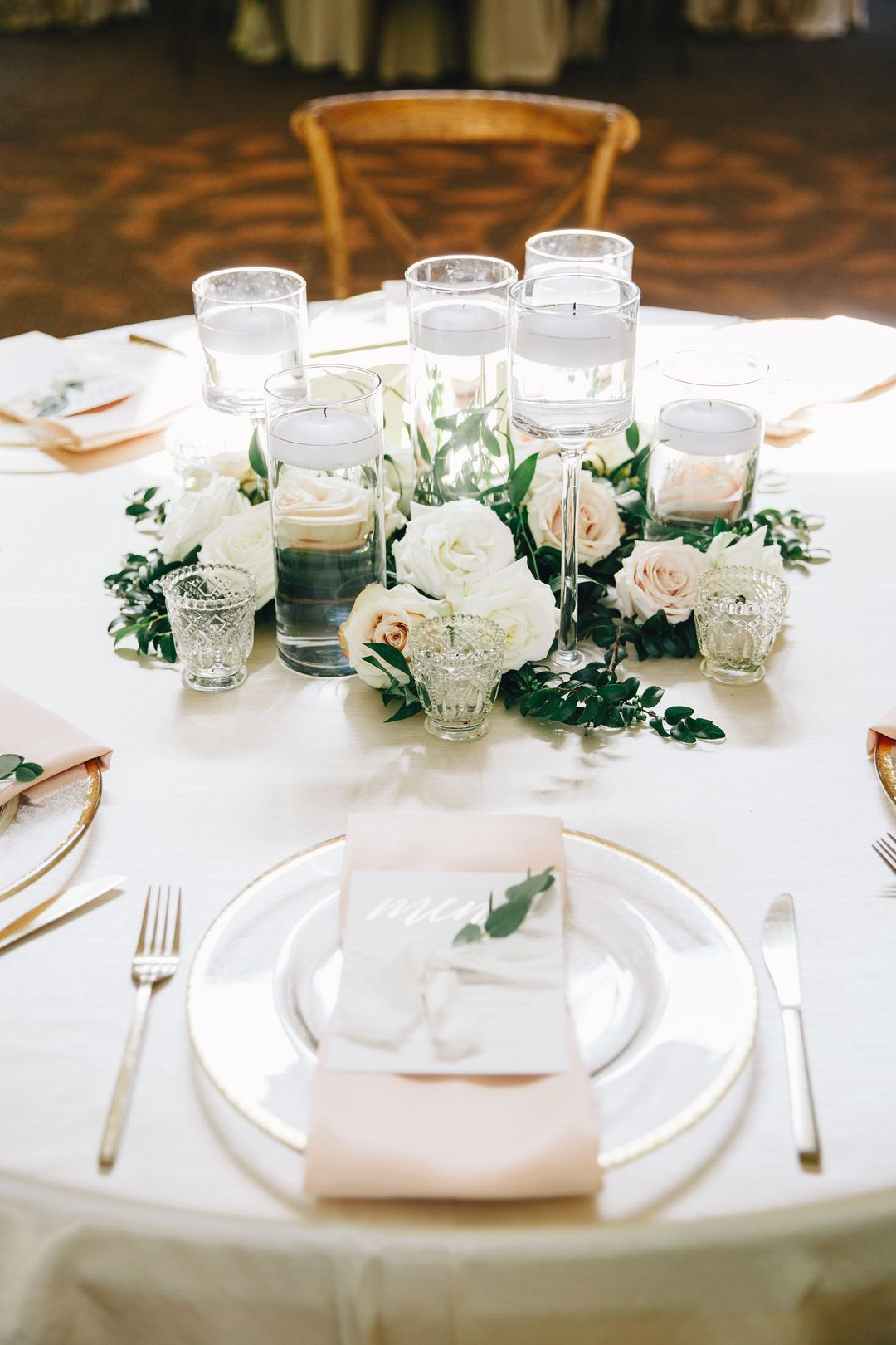 all white wedding reception table