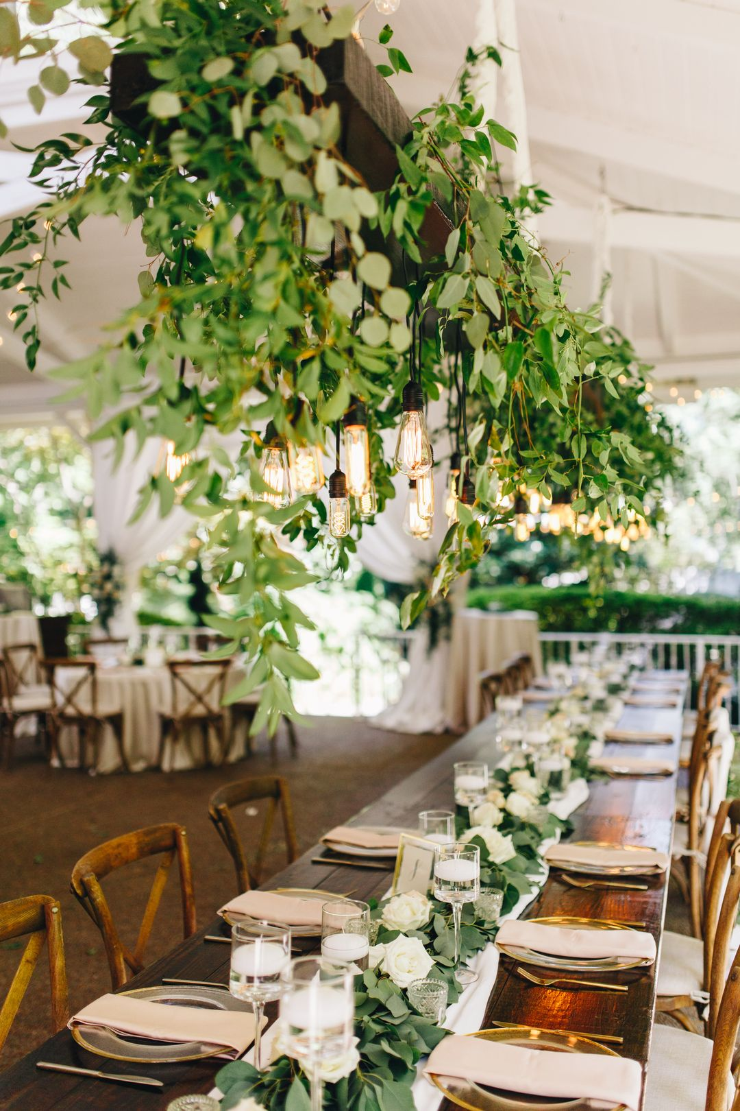 white and greenery wedding reception banquet table