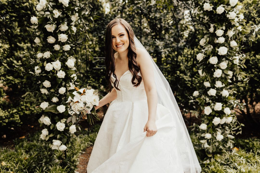 all white bridal bouquet, romantic bridal style