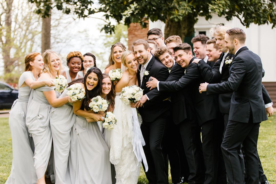 blue grey wedding party at riverwood mansion