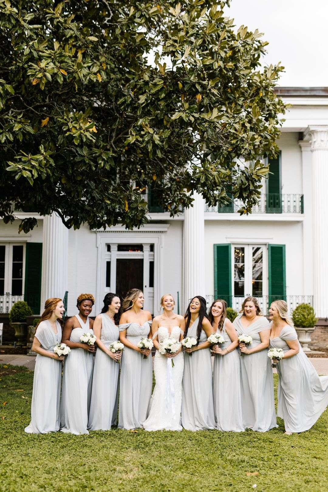 blue grey bridesmaid dresses