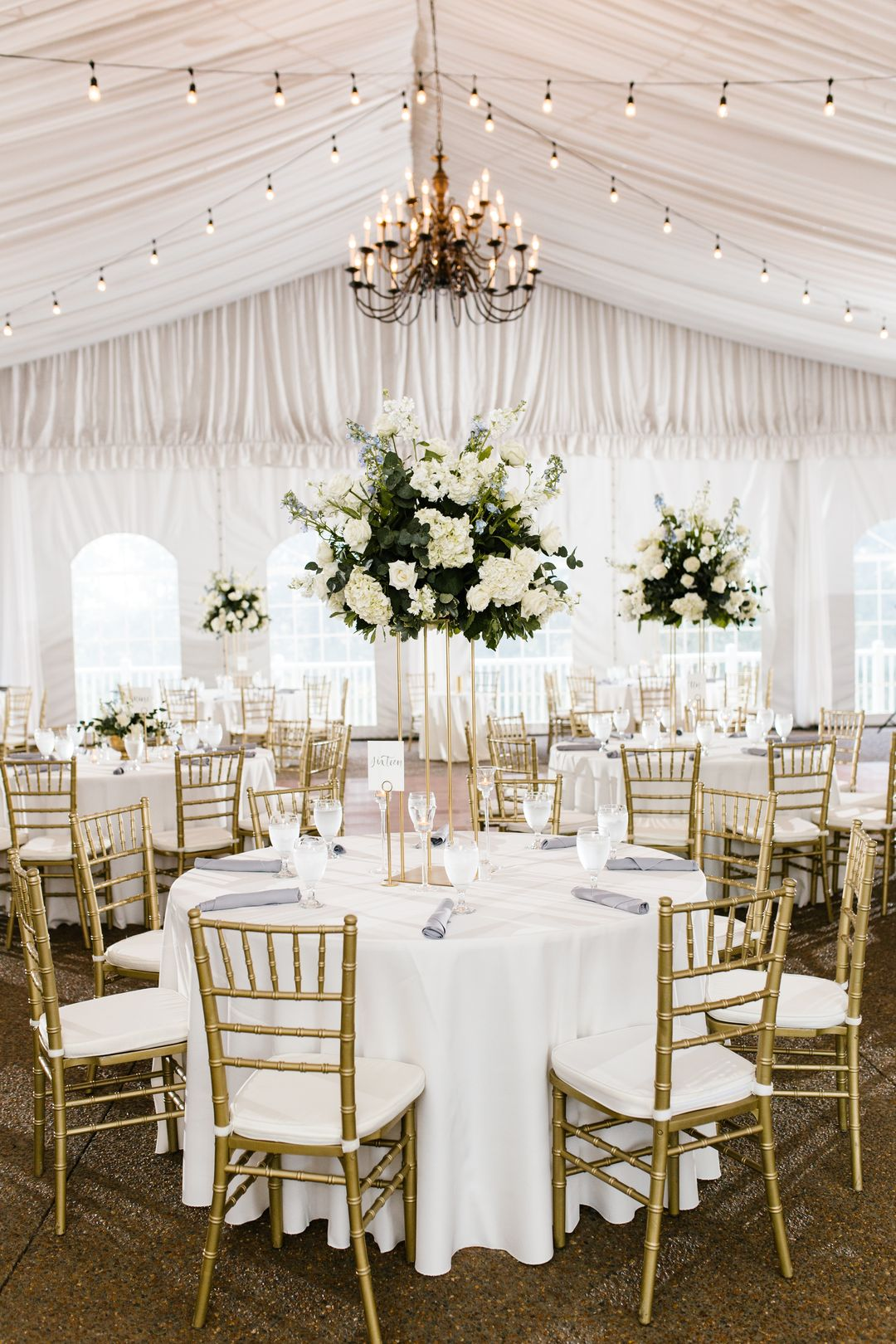 tall all white wedding reception centerpieces