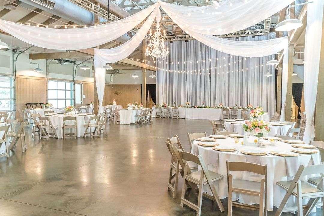 indoor wedding reception with drapery