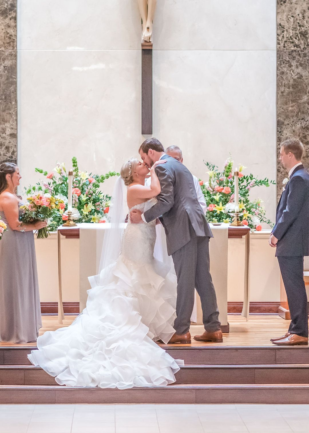 pink and yellow wedding ceremony