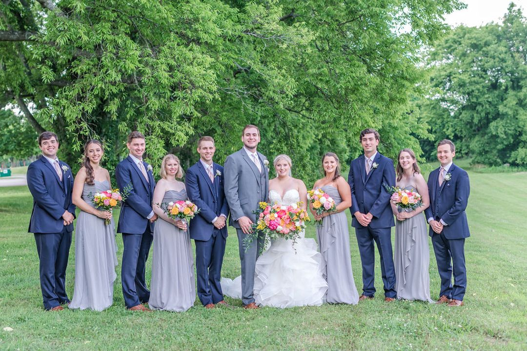 grey and navy wedding party
