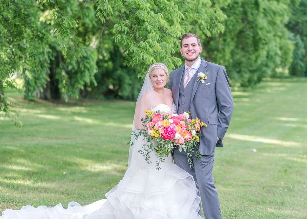 pink and yellow outdoor summer wedding