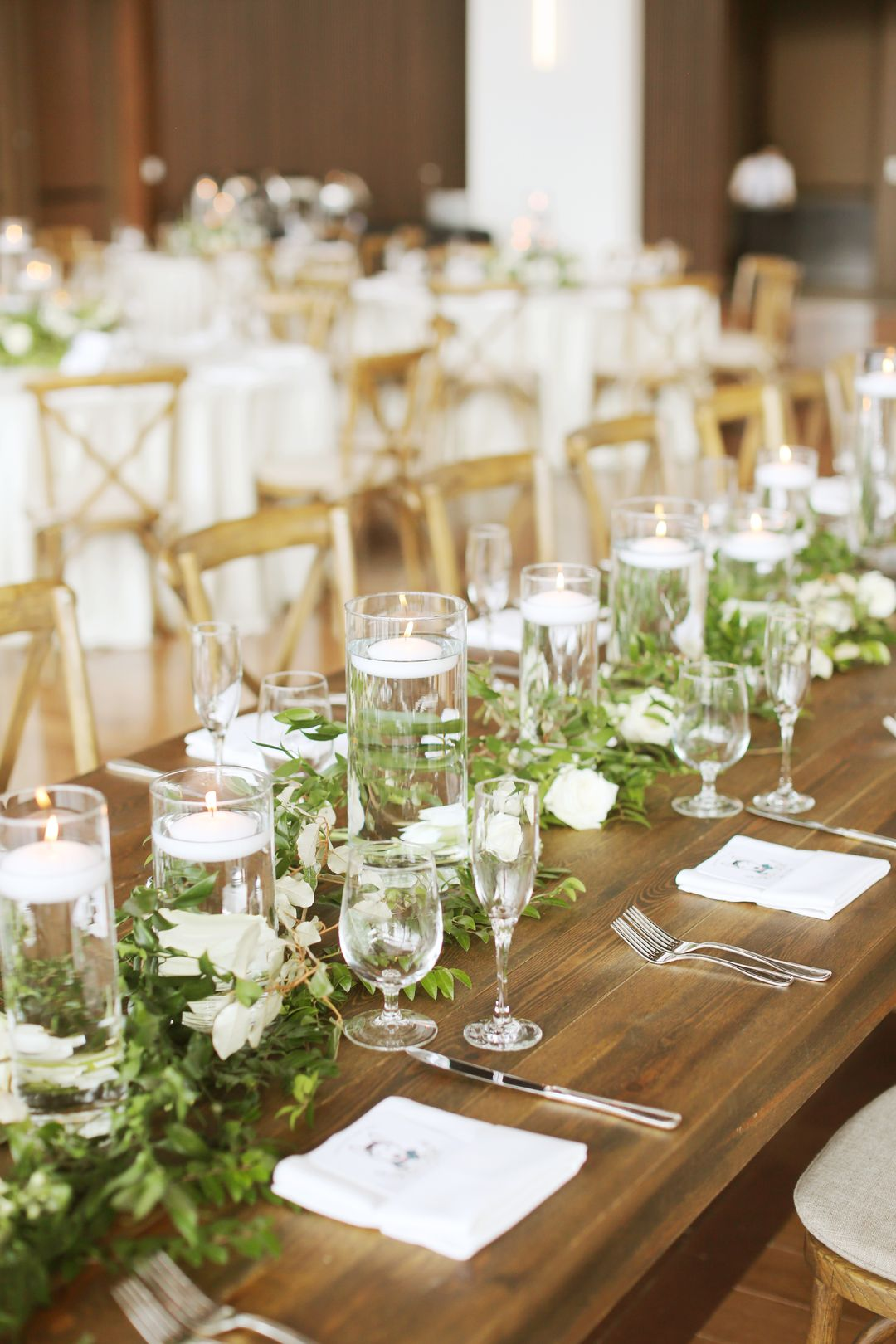 simple white and green wedding table